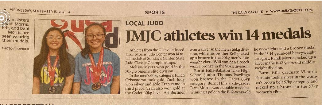 Photo of Daily Gazette Newspaper article about Jason Morris Judo Center